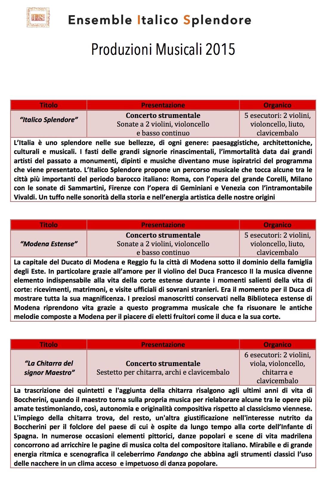 Produzioni Musicali Italico Splendore 1